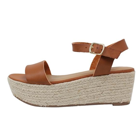 04af75bab804 Tan Open Toe Ankle Strap Espadrilles Flatform